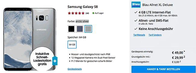 Schnäppchen Vertrag Samsung Galaxy S8 für 49,00 Euro zum Vertrag Blau Allnet XL Deluxe mit 6,33 Euro effektive Grundgebühr , im Smartphone Tarif Allnet XL Deluxe ink. 4 GB LTE Internet-Flatrate , Telefon Allnet Flat und einer SMS-Flat mit 29,99 Euro Grundgebühr im Monat im o2 Mobilfunknetz.