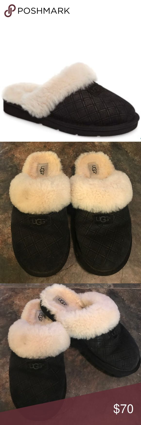 Ugg Australia Slippers Good Condition  Minor signs of wear shown on insole and bottoms. There is one dirt spot on the fuzzy part of the right shoe. Can easily be spot cleaned. A cozy sheepskin collar defines a comfy slipper cut from diamond-embossed suede and lined with UGGpure(TM), a textile made from pure wool but crafted to feel and wear like genuine shearling.  Sizing: Whole sizes only; for 1/2 sizes, order next size down. - Round toe - Diamond embossed - Genuine sheepskin collar…