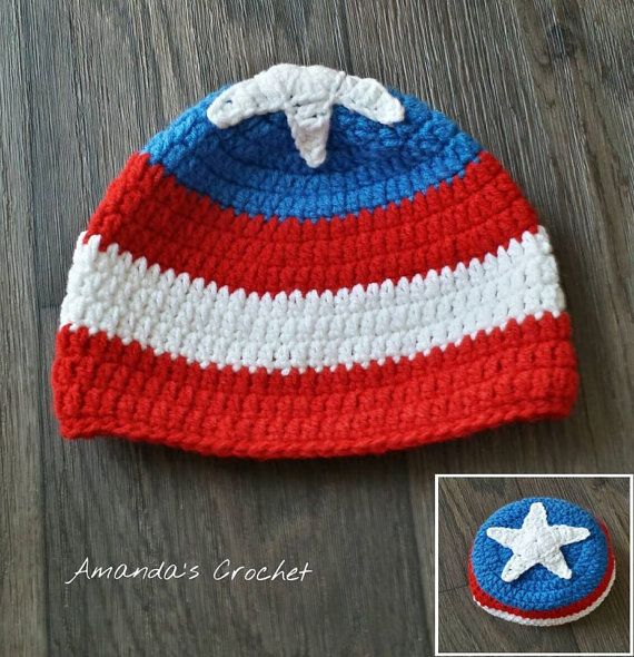 Crochet Captain America Hat child toddler by AmandasCrochet23