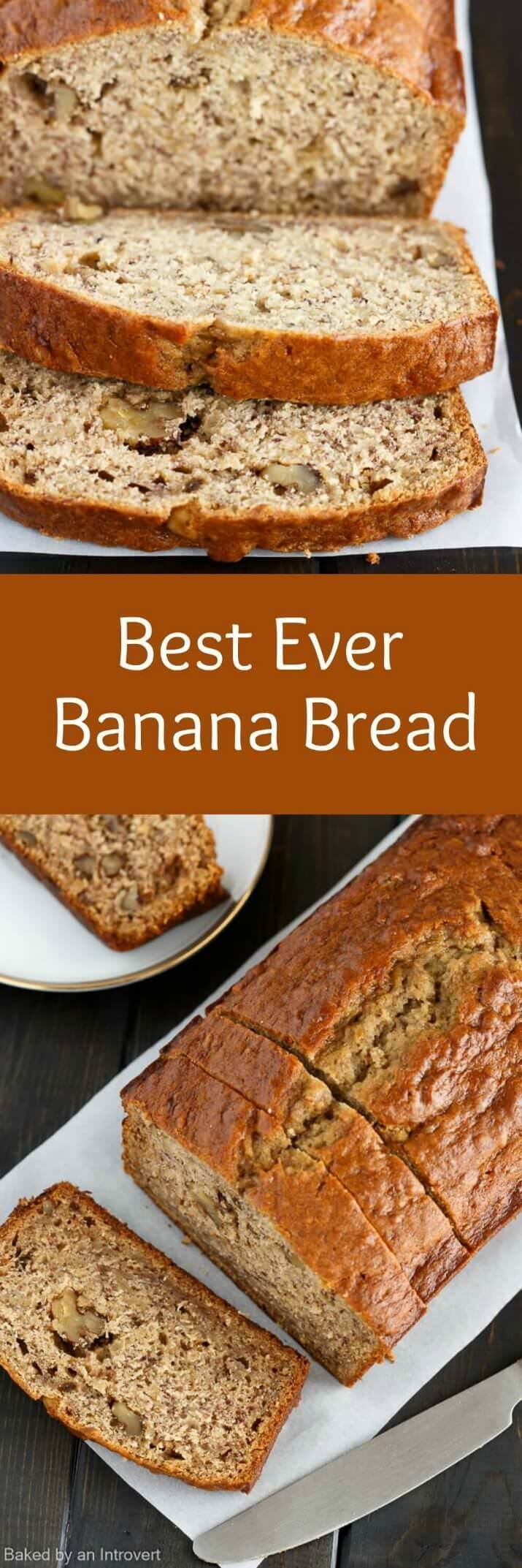 This Best EVER Banana Bread recipe is the only one you will ever need! It's easy, flavorful, and will quickly become your new favorite. via /introvertbaker/