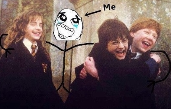 """A cute pic of me with my besties Harry, Ron, and Hermione."""