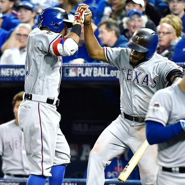 "By @rangers ""Rougned Odor homers, scores 3 times to help propel the Rangers over the Blue Jays in Game 1 of the ALDS. #NeverEverQuit #Texas #Rangers #TexasRangers #MLB #Baseball #ALDS #Odor"
