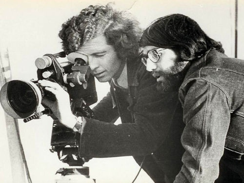 "Patricio Guzman and Jorge Muller Silva filming ""The Battle of Chile."" 1973."