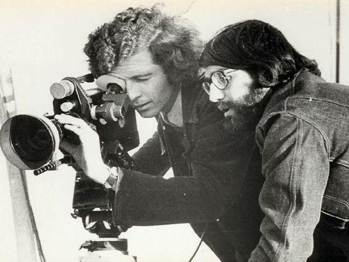 "Patricio Guzman and Jorge Muller Silva filming ""The Battle of Chile."" 1973."