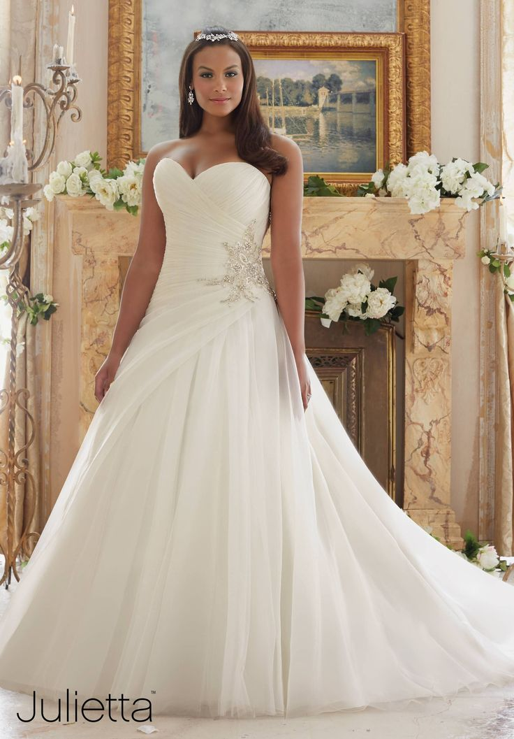 Wedding Dresses By Julietta featuring Diamante Beaded Applique on Organza and Tulle Colors Available: White/Silver, Ivory/Silver