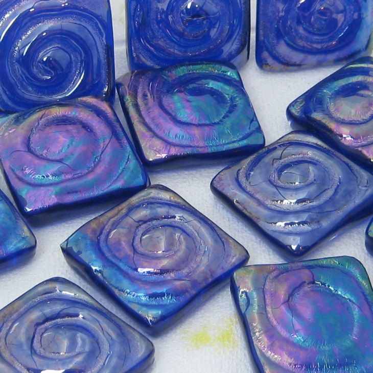 cobalt blue glass tiles handmade 1 inch mosaic backsplash shower kitchen focal bathroom cabochon jewelry supplies spiral unique accent tile by TorchLakeGlass on Etsy