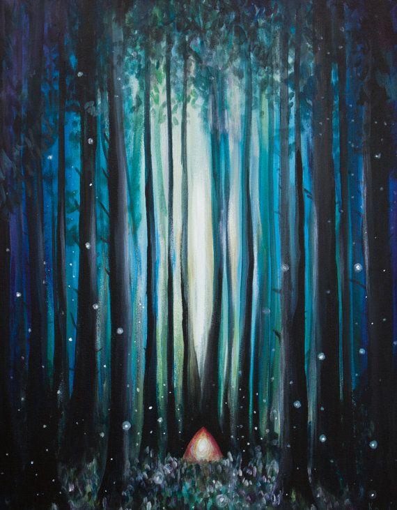 Fireflies in the Woods  Landscape Canvas Print by kathrynbeals