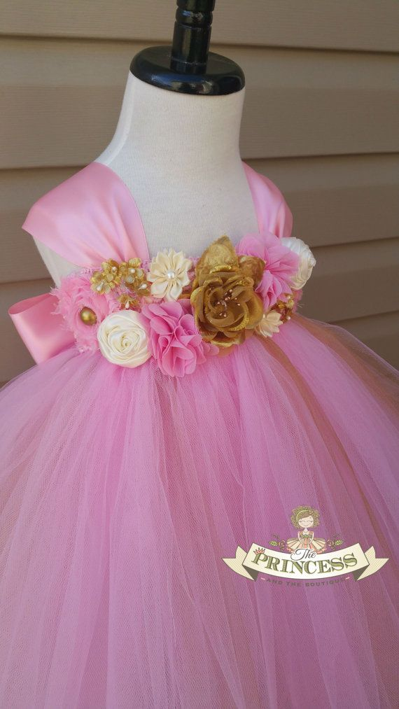 pink flower girl dress-flower girl by Theprincessandthebou on Etsy