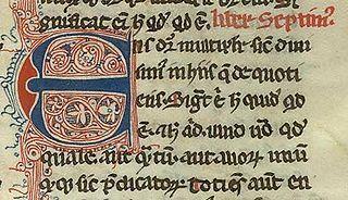 Começo do livro 7 da Metafísica de Aristóteles, traduzido para o latim por Guilherme de Moerbeke. Manuscrito do século 14