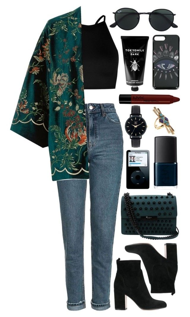 """Untitled #1005"" by clary94 ❤ liked on Polyvore featuring Topshop, Boohoo, River Island, Gianvito Rossi, Foley + Corinna, Ray-Ban, Kenzo, NARS Cosmetics, TokyoMilk and NYX"