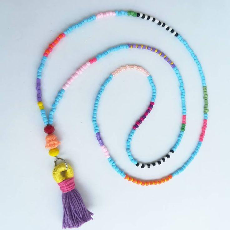 Baby blue tassel necklace handmade tassel extra long | Etsy