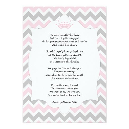 Pink Crown Baby Shower Thank You Note With Poem Card