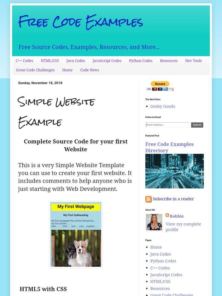 Free Source Code for your first Website https//www