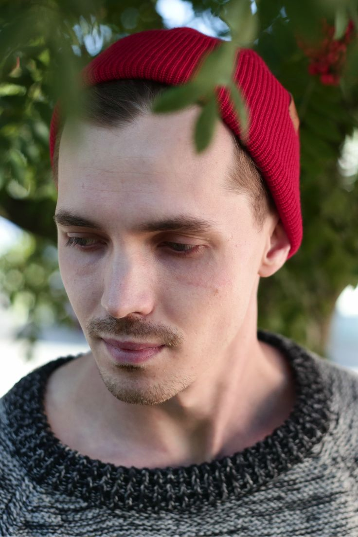 Fall Summer Outfit for Men. Merino Wool Beanie for Men by VAI-KØ.