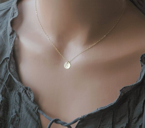 Gold Disc Necklace - Simple Everyday Necklace - Hand Stamped Initial Necklace - Bridesmaid Gifts - Gold Charm Necklace on Etsy, $24.75