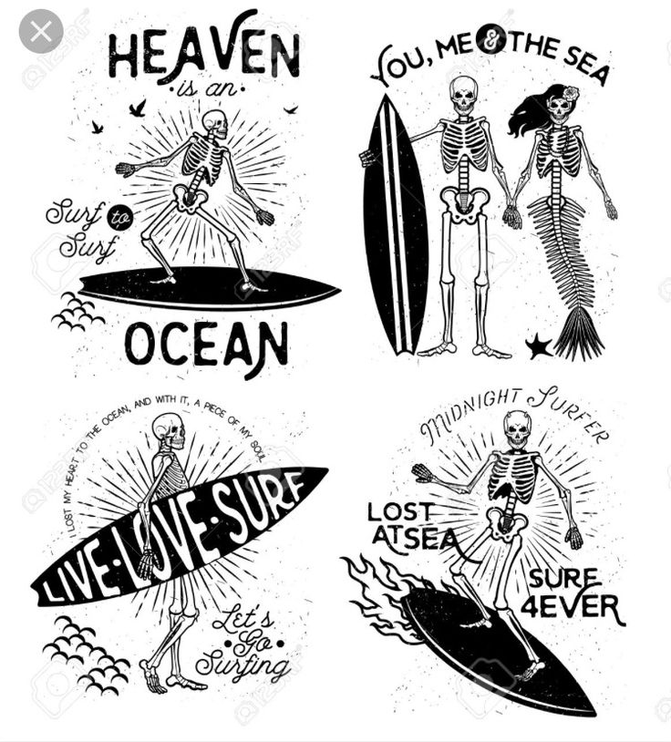 Surf ocean skeleton tattoo ideas