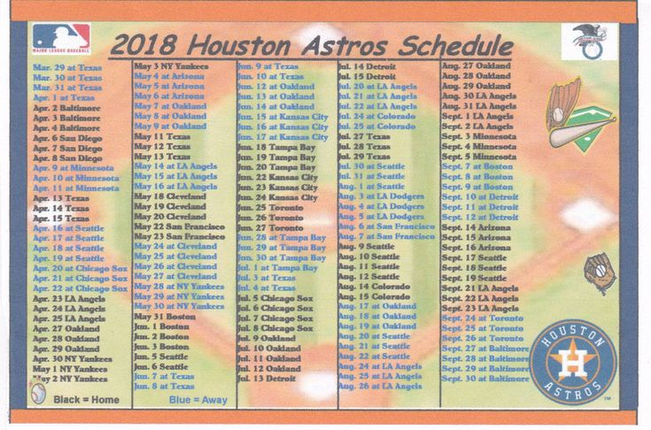 Texans Astros 2018 Schedule Printable