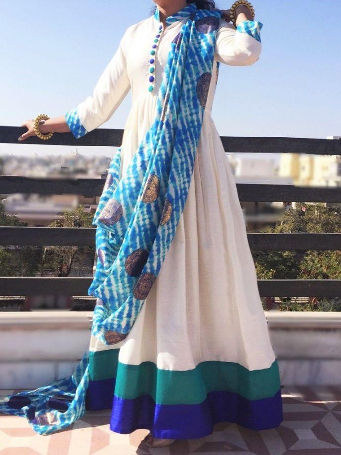 Pre Draped Aqua Coloured Dress
