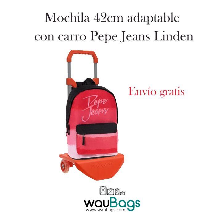 Consigue la Mochila de 42cm Pepe Jeans Linden adaptable con carro, por tan solo 54,50€!!Con un compartimento principal con cierre de cremallera, un bolsillo delantero y salida de audio en el lateral. @waubags #pepejeans #mochila #carro #escolar #cole #adaptable