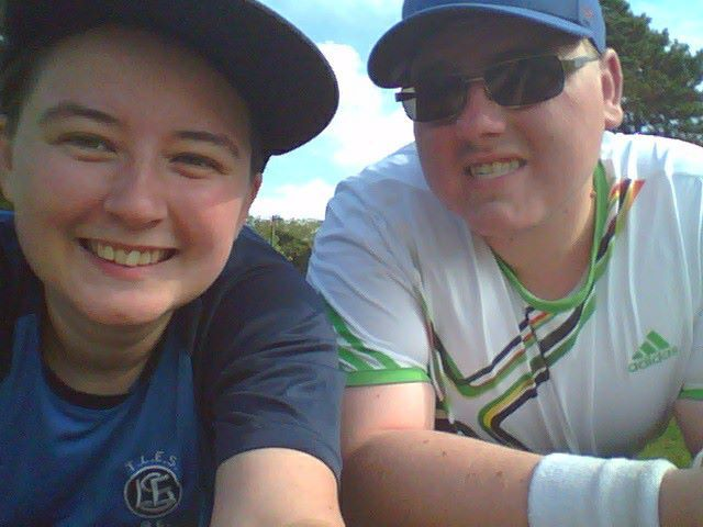 my best friend jonathan and i, shortly after a game of tennis <3