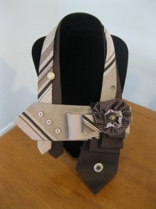 Two preloved brown men's ties, repurposed and with the addition of a fabric flower made from a recycled womens scarf and a vintage button - you have your own one a kind necktie scarf, necklace - whatever you want to call them!