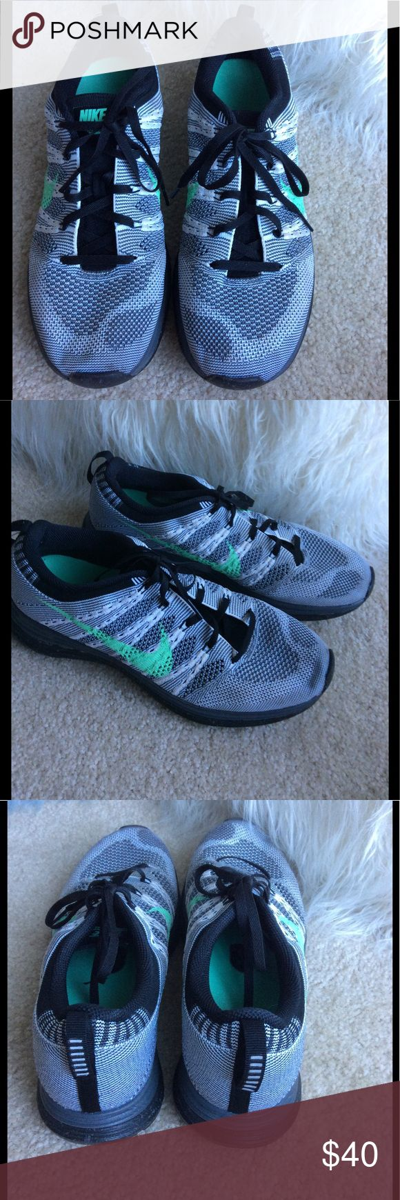 Nike Flyknit Lunar 1 Barely worn. Still look new.  Black and white flyknit fabric. Mint green logo. Nike Shoes Sneakers