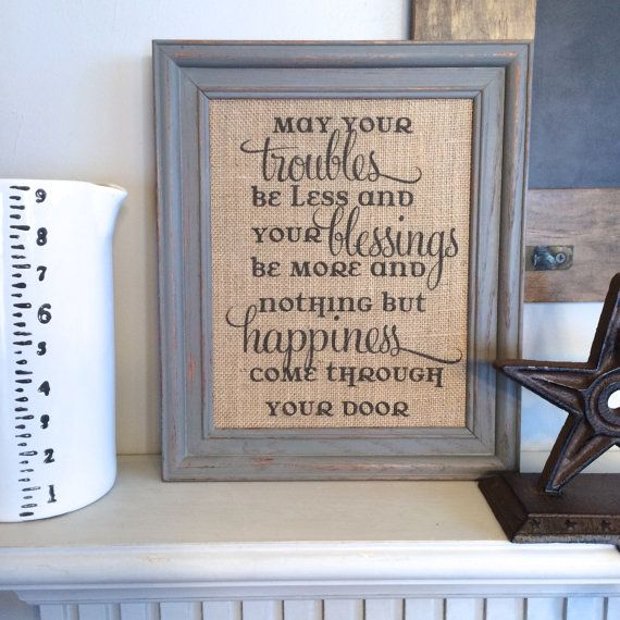 17 best ideas about burlap art on pinterest burlap pictures fabric canvas art and christmas - House warming blessing ...