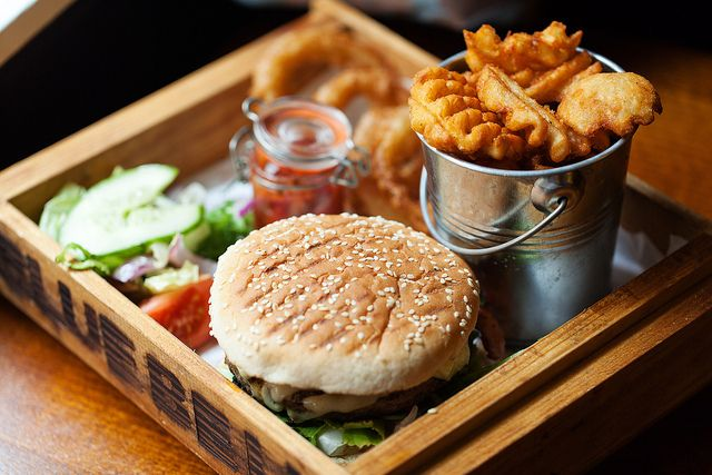 Gourmet burger from the Blue Bell in Warrington.