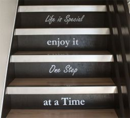 Wallstickers for the stair makeover.  Wish I had torn off the carpet and done this at my old house.