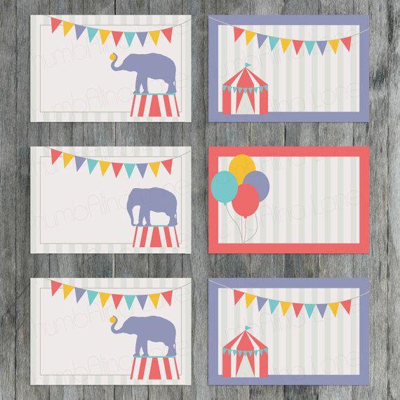 Carnival Circus Printable Buffet Cards / Name Tags by ThumbAlinaLane