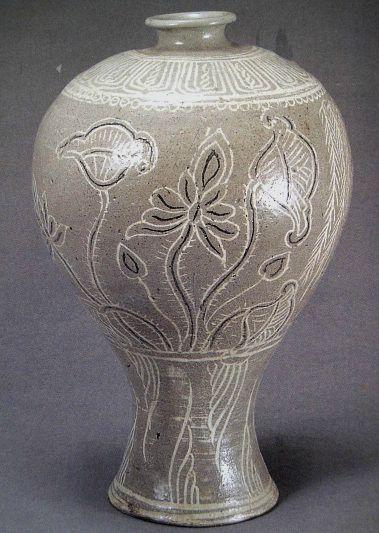 분청사기, 연꽃 버드나무 무늬 매병(粉靑沙器 象嵌 蓮柳文 梅甁), ca.15th century, Josen dynasty, Korea