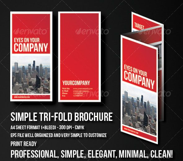 Simple Clean Tri-Fold Brochure Work Pinterest Brochures, Tri - pamphlet sample