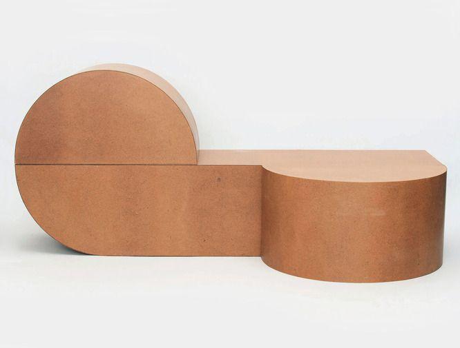 Designed by RO/LU, Masonite Table, Stool, & Bench at Patrick Parrish gallery. New York