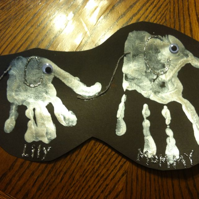 """Elephant handprints for """"circus animal craft"""" day at school"""