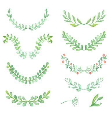 Watercolor painted laurels set Floral wreaths and vector ...