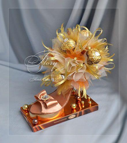 Туфелька из конфет - Свадебный брошь букет Sflory