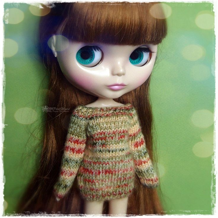 BLYTHE Sweater, Jumper, Pure Neemo, Licca, Takara, Pullip, Dal - Knitted Multicolor Green and Brown Sweater #114 by MPdollWorld on Etsy