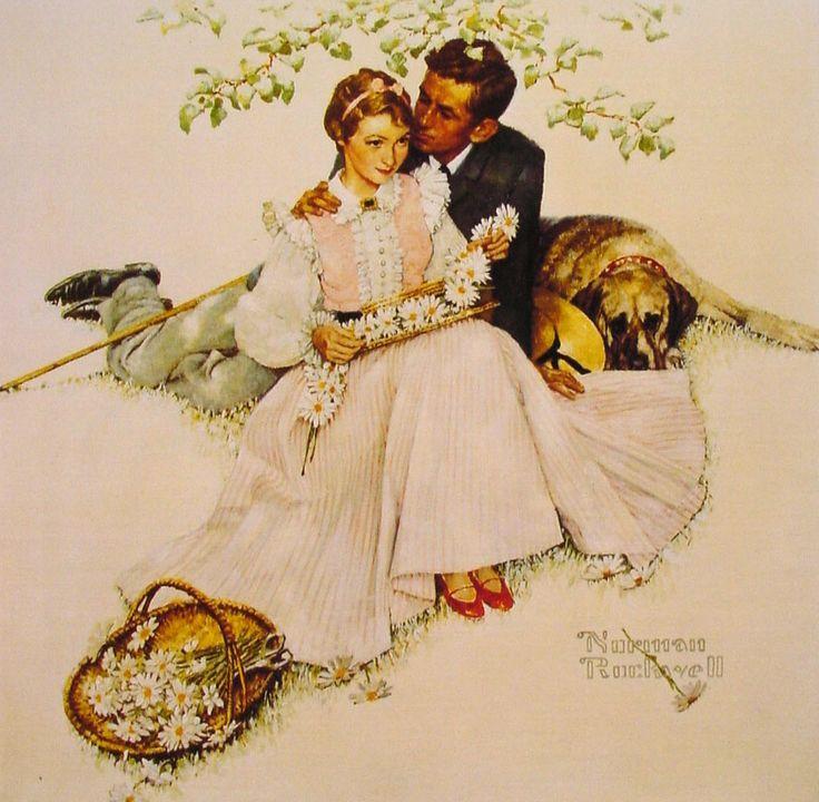 """""""Flowers in Tender Bloom"""" by Norman Rockwell, 1955 ・  Style:Regionalism ・ Genre:genre painting"""