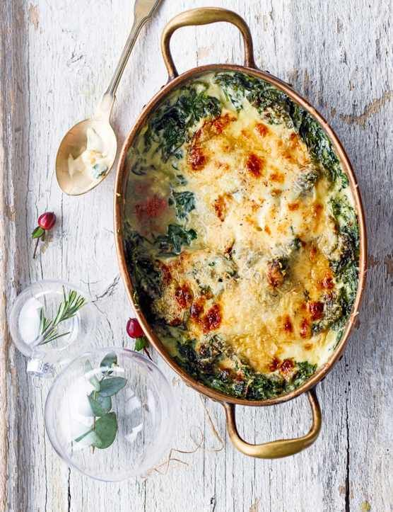An indulgent, cheesy side that won't leave you slaving over the stove for hours, this wintery spinach dish is really quick and easy to make