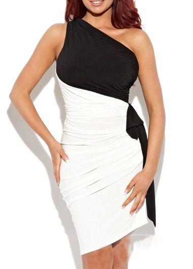 Party Essential Color Block One Shoulder Knee Length Dress | Rosewe.com