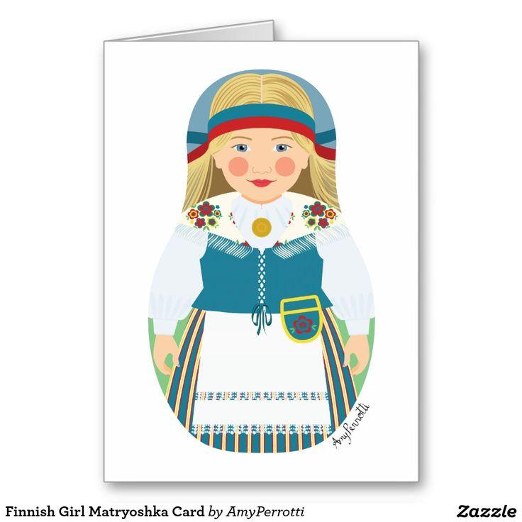 Finnish Girl Matryoshka Card