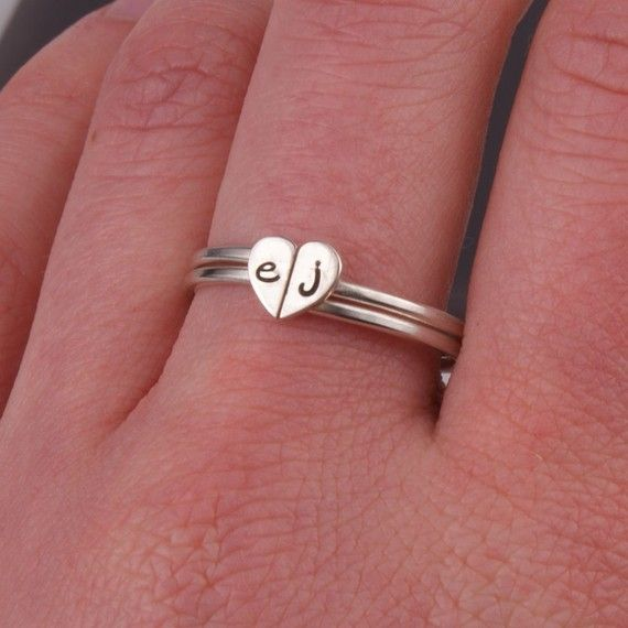 Love this one more. Two Heart Halves Stacking Sterling Silver Rings by InitialRings, $41.99