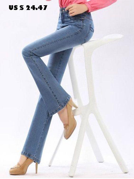8605afd15d7 Autumn High Waist Flare Jeans Pants Plus Size Stretch  Skinny Jeans Women  Wide Leg Slim Hip Denim Boot Cuts Xxxl Xxs 4Xl 5Xl 6Xl
