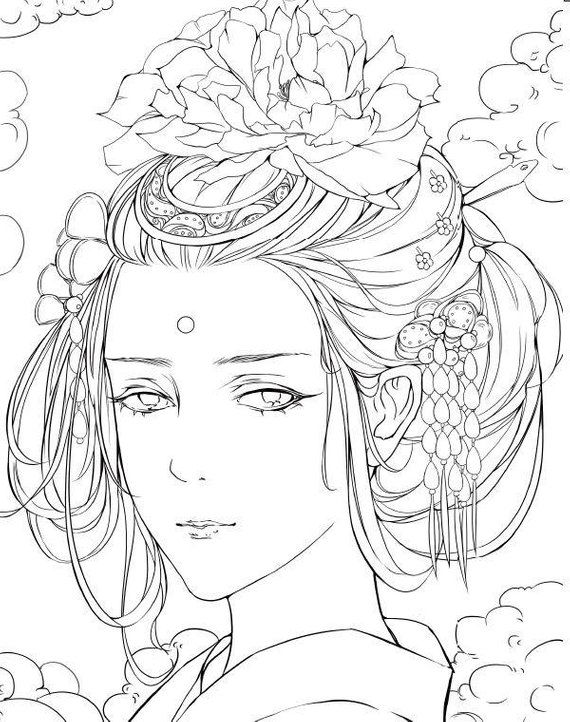 Ancient Wind Painted Color Book 2 Chinese Coloring Book Coloring Books Coloring Pages Drawings