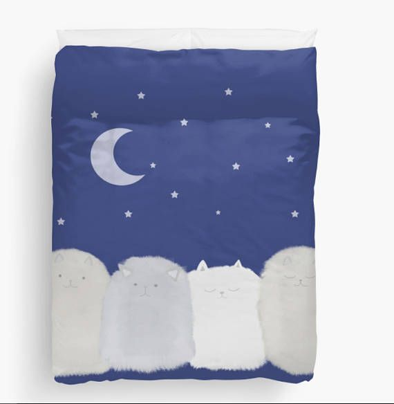 Cute cats fluffy Comforter or Duvet Cover Bedding Twin Full