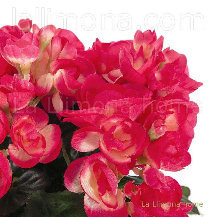 Planta artificial con begonias color cereza y hojas - Plantas artificiales ...