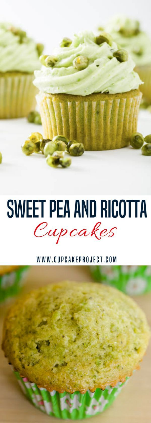 Looking for easy cupcakes recipes?  This Sweet Pea Cupcake Recipe is light and sweet topped with a sweet pea cream cheese frosting and candied peas. More easy and from scratch baking recipes from #CupcakeProject #food #dessert