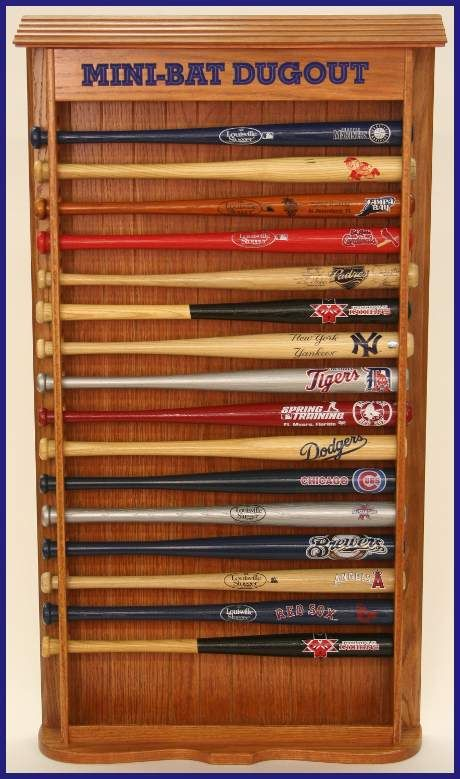 "mini bat rack display | Mini-bat racks will hold up to sixteen 18"" mini baseball bats. The ..."