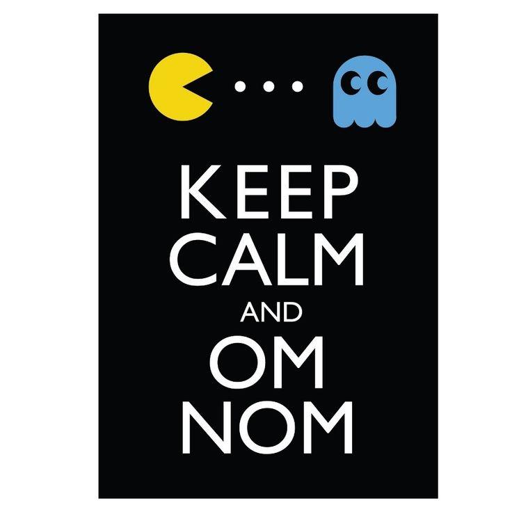 Keep Calm and Om Nom - 8x10 pacman vintage video game geek print. $8.00, via Etsy.