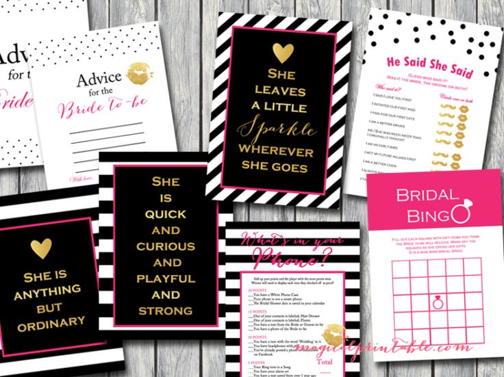 Kate Spade Bridal Shower Game Pack Kate Spade